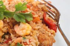 西班牙语肉菜饭的大虾 免版税库存图片