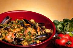 西班牙语肉菜饭的食谱 库存照片