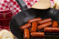 西班牙语Cuisune。辣香肠。Chistorra。 图库摄影