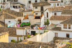西班牙镇屋顶 免版税库存图片