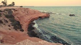 西班牙阿利坎特Mil Palmeras的地中海海岸 股票录像