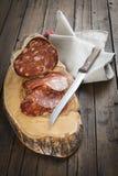 西班牙香肠叫在切板的morcon 免版税图库摄影