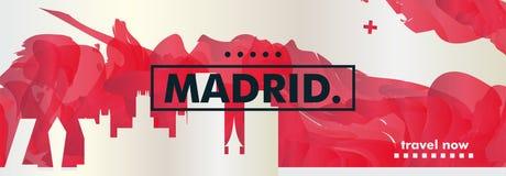 西班牙马德里地平线城市梯度传染媒介横幅 向量例证