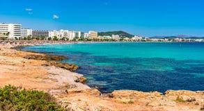 西班牙马略卡Cala Millor海滩胜地 库存图片
