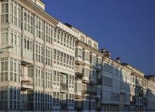 西班牙,加利西亚,卢戈,城内住宅门面 图库摄影