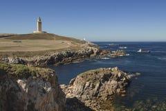 西班牙,加利西亚,拉科鲁尼亚队,赫拉克勒斯塔灯塔 免版税库存照片