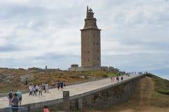 西班牙,加利西亚,拉科鲁尼亚队,赫拉克勒斯塔灯塔 库存照片