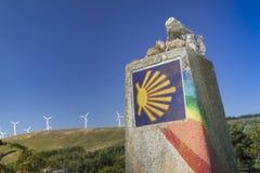 西班牙,加利西亚, Camino de圣地亚哥里程碑 图库摄影