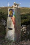 西班牙,加利西亚, Camino de圣地亚哥里程碑 库存照片