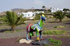 西班牙,加那利群岛,山羊雕塑 免版税库存照片
