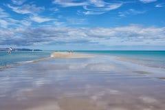 西班牙,加那利群岛,费埃特文图拉岛,里斯科del Paso Beach,沙子唾液 免版税库存照片