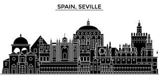 西班牙,塞维利亚建筑学传染媒介城市地平线,与地标,大厦的旅行都市风景,隔绝了视域  库存例证
