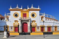 西班牙,安大路西亚,塞维利亚,Plaza de Toros de la Real Maestranza de Caballeria de塞维利亚 图库摄影