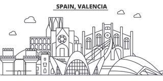 西班牙,巴伦西亚建筑学线地平线例证 与著名地标的线性传染媒介都市风景,城市视域 皇族释放例证