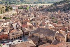 西班牙,萨瓦格萨省的达罗卡的中世纪村庄  库存图片