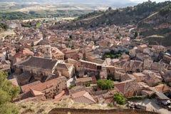 西班牙,萨瓦格萨省的达罗卡的中世纪村庄  图库摄影