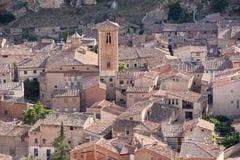 西班牙,萨瓦格萨省的达罗卡的中世纪村庄  免版税库存照片