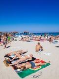 西班牙,巴利阿里群岛,伊维萨岛海岛, playa d'en bossa 库存照片