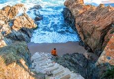 西班牙 卡塔龙尼亚 肋前缘Brava Sa列拉海滩 美丽的景色o 免版税库存照片