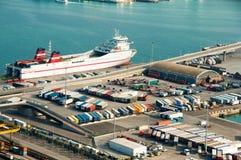西班牙 巴塞罗那 海港 Zona弗朗卡 被采取的照片01 05 2017年 免版税库存图片