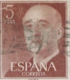 西班牙-大约1949年:邮票在显示打印了弗朗西斯科・佛朗哥将军画象1892-1975 免版税库存照片