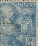 西班牙-大约1949年:邮票在显示打印了弗朗西斯科・佛朗哥将军画象1892-1975 库存照片