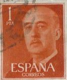西班牙-大约1949年:邮票在显示打印了弗朗西斯科・佛朗哥将军画象1892-1975 免版税库存图片