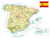 西班牙-详细的地形图-例证 库存照片