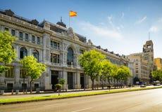 西班牙(Banco de西班牙)的银行Calle的de Alcala在马德里 图库摄影