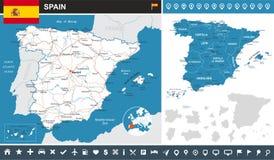 西班牙- infographic地图-例证 免版税库存照片