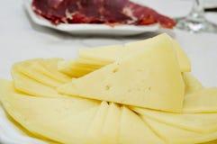 西班牙manchego乳酪塔帕纤维布 免版税库存图片