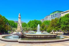 西班牙Square Plaza de西班牙是一个大正方形,一普遍的tou 免版税库存图片