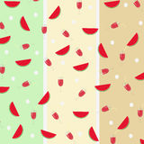 西瓜切片和汁液样式有五颜六色的背景 也corel凹道例证向量 图库摄影
