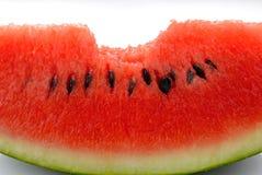 西瓜和叮咬标记,热带水果是甜的,水多,富有 免版税库存图片
