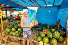 西瓜和瓜的卖主在路旁市场上 图库摄影