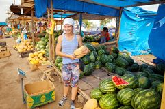 西瓜和瓜的卖主在路旁市场上 免版税库存照片