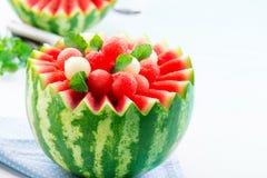 西瓜和甜瓜球 库存照片