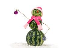 西瓜在桃红色帽子和围巾的圣诞节雪人在雪 假日概念新年 免版税图库摄影