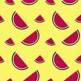 西瓜在黄色的切片样式 库存图片