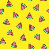 西瓜在黄色背景的夏天样式 向量例证