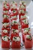 西瓜正方形用山羊乳干酪 免版税库存照片