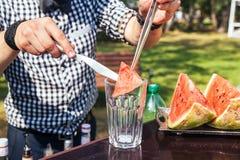 西瓜鸡尾酒在夏天 库存照片