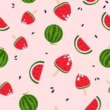 西瓜,冰淇淋,美味,五颜六色生气勃勃无缝的样式,夏季,飞溅墨水背景纹理传染媒介 皇族释放例证
