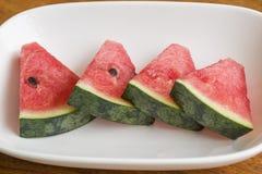 西瓜 新鲜,饮食 在白色碗 库存照片