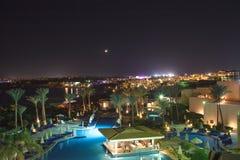 西瓦Sharm旅馆的美好的夜视图在Sharm El谢赫2016年11月03日 库存照片