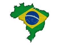 巴西的地图和旗子老亚麻布的 库存例证