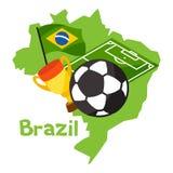 巴西的风格化地图有足球和旗子的 库存例证