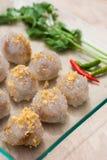 西米猪肉、泰国点心和开胃菜 库存图片