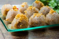 西米猪肉、泰国点心和开胃菜 库存照片