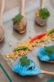西米猪肉、泰国点心和开胃菜 免版税图库摄影